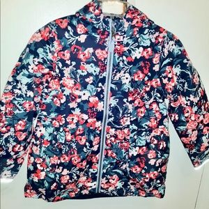 JOULES NAVY FLORAL GIRLS COAT